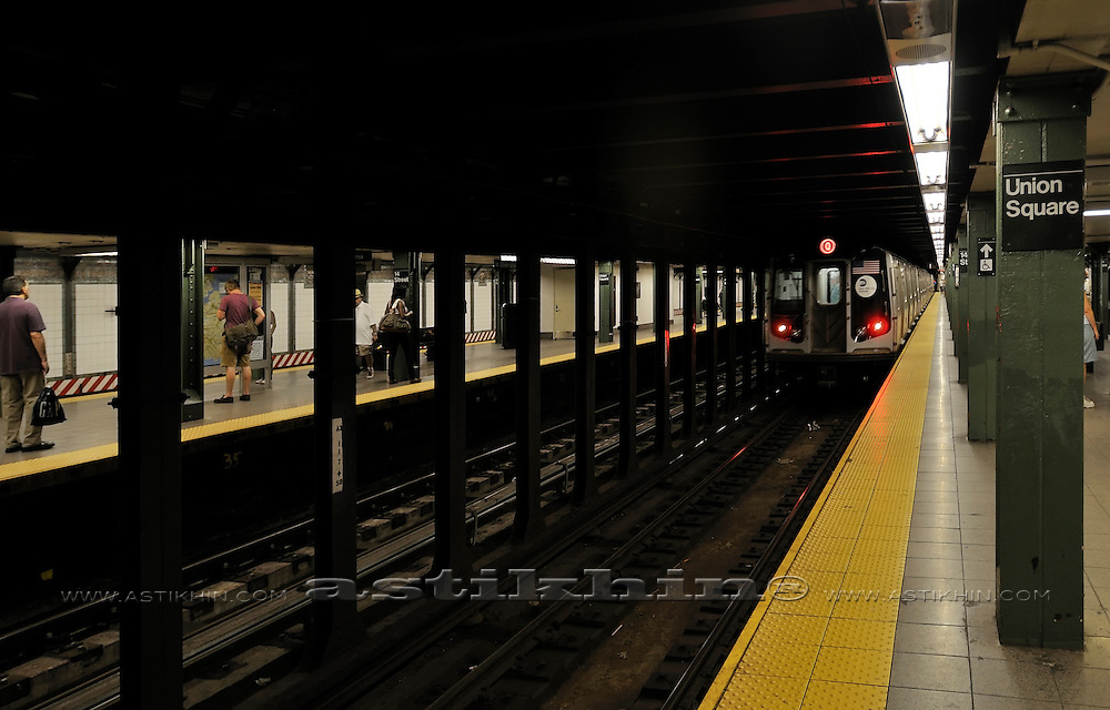 MTA train on Union Square Station