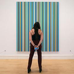 Woman looking at painting Apres midi by Bridget Riley on display at Scottish National Gallery of Modern Art in Edinburgh, Scotland, United Kingdom