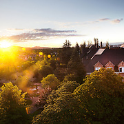 The sun rises over Gonzaga as summer classes kick off.<br />