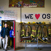 US President Barack Obama visits the Oso Fire Station where he greeted and spoke with rescuers near the scene of the deadly Oso mudslide.