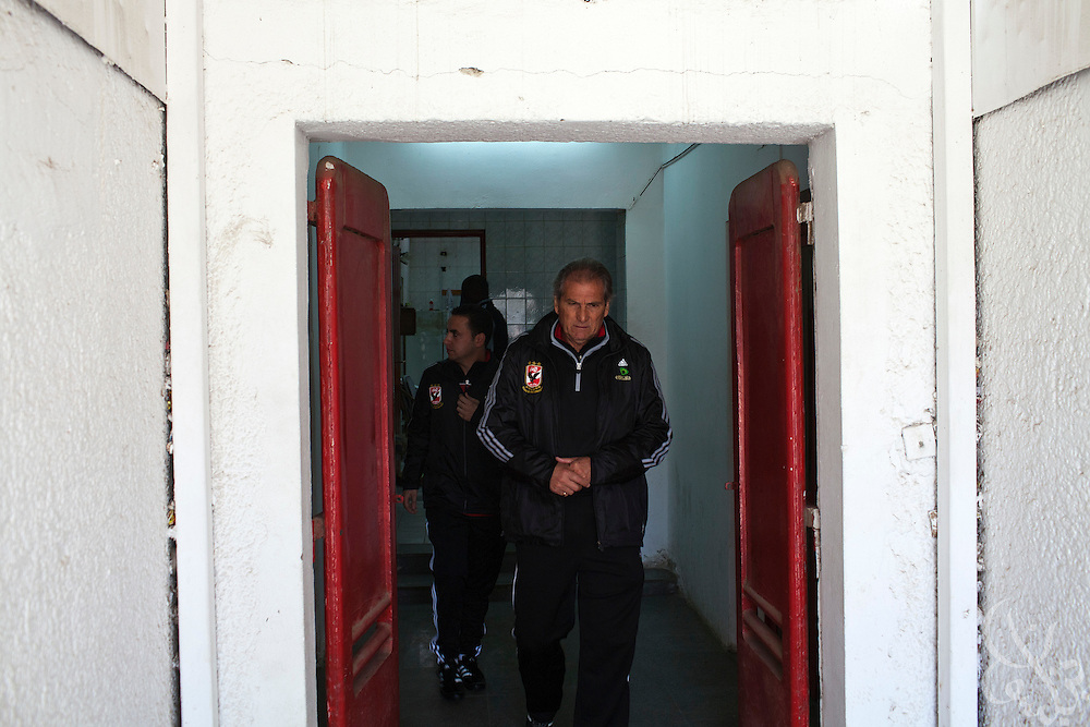 Manuel Jose, the Portuguese Coach of the Egyptian football team Al-Ahly leaves the locker rooms area to give the awaiting team trainers news that the first scheduled practice since the Port Said tragedy has been cancelled February 17, 2012 in Cairo, Egypt. Jose returned to Egypt Feb 16 to resume his job of coach of Al-Ahly in the wake of post-football match violence February 2nd, 2012 that killed 74 and injured hundreds more in the Port Said, Egypt stadium.  (Photo by Scott Nelson)