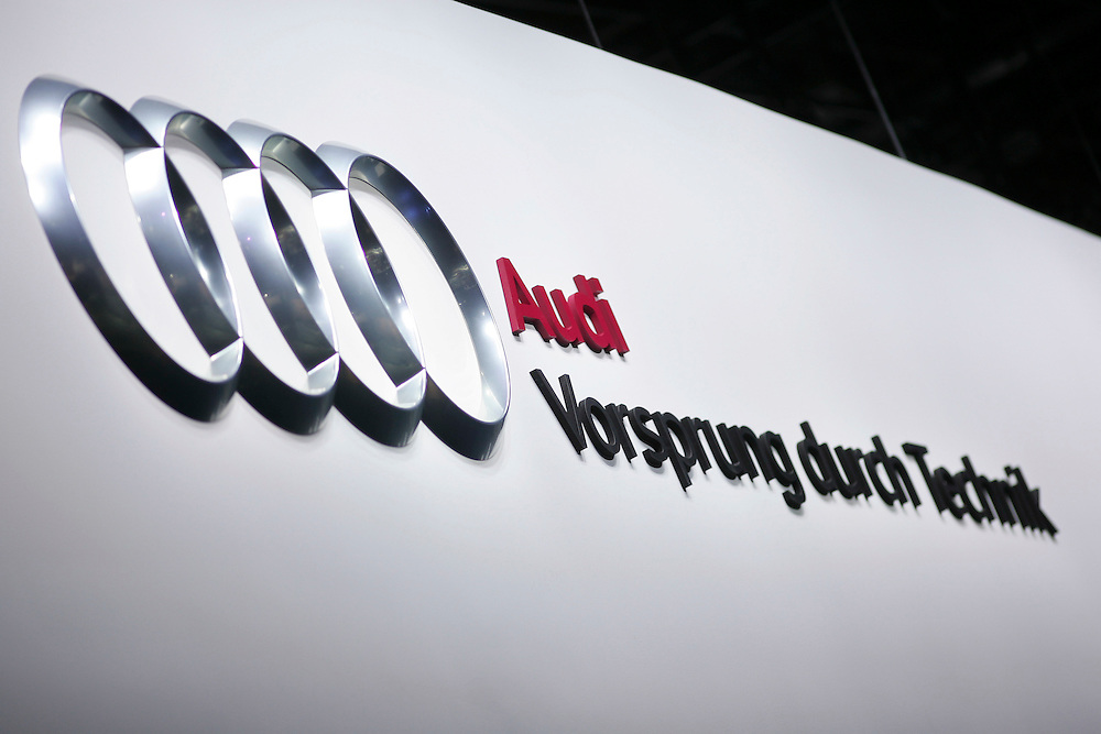 GR --- Detroit, Michigan ---11-01-10--- The Audi logo on display at the company's booth at the North American International Auto Show in Detroit, Michigan January 10, 2011.<br /> Geoff Robins AFP