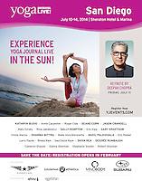 Yoga Journal US. Photo of Heeki Park promoting the San Diego Yoga Journal Conference. February 2014