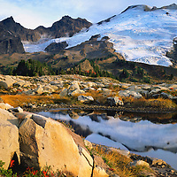 Mt. Baker, WA, USA.Dormant Volcano, 10,778 ft / 3285 m..Mt. Baker Wilderness Area..Ponds on Park Butte Lookout.Fall, S. Side Easton Glacier.4x5 Transparency.© Brett Baunton.