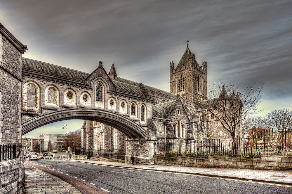 Christ Church Cathedral is the cathedral of the United Dioceses of Dublin and Glendalough. It is situated in Dublin, Ireland, and is the elder of the capital city's two medieval cathedrals, the other being St Patrick's Cathedral. The arched stone bridge links the Cathedral to the former Synod Hall that is now home to the Dublinia exhibition about medieval Dublin.