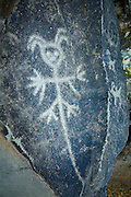 """A mystreious or mythical figure etched into a rock on the """"Temani Pesh-wa"""" trail (also """"written on rock"""" trail) in Columbia Hills State Park on the Washington Side of the Columbia River Gorge. This petroglyph was removed from the famous """"Petroglyoh Canyon"""" along the Columbia River before it was flooded by construction of The Dalles Dam in 1957. The Army Corps Of Engineers stored the rock art until 2004 when Temani Pesh-wa trail was built."""