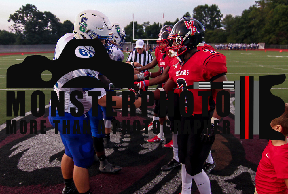 William Penn and St. Georges players shake hands prior to a week one DIAA game between  William Penn and St. Georges, Friday, Sept. 09, 2016 at CARAVEL Academy in Bear, DE.