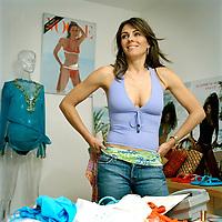 Elizabeth Hurley with her swimwear designs in her studio in South Kensington, London, UK. Sold exclusively in Harrods and Saks in New York.