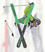 SHOT 12/18/10 11:14:47 AM - Justin Dorey of Vernon, Canada goes for a grab as he twists and spins high above the superpipe during the Ski Superpipe Finals during the Nike 6.0 Open stop of the Winter Dew Tour at Breckenridge Ski Resort in Breckenridge, Co. Dorey placed second in the event with a final score of 91.25. The event features ski and snowboard slopestyle and superpipe. (Photo by Marc Piscotty / © 2010)
