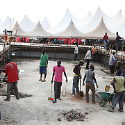 Workers prepare Garang Masoleum in Juba for Southern Sudan's independence ceremonies on July 9..