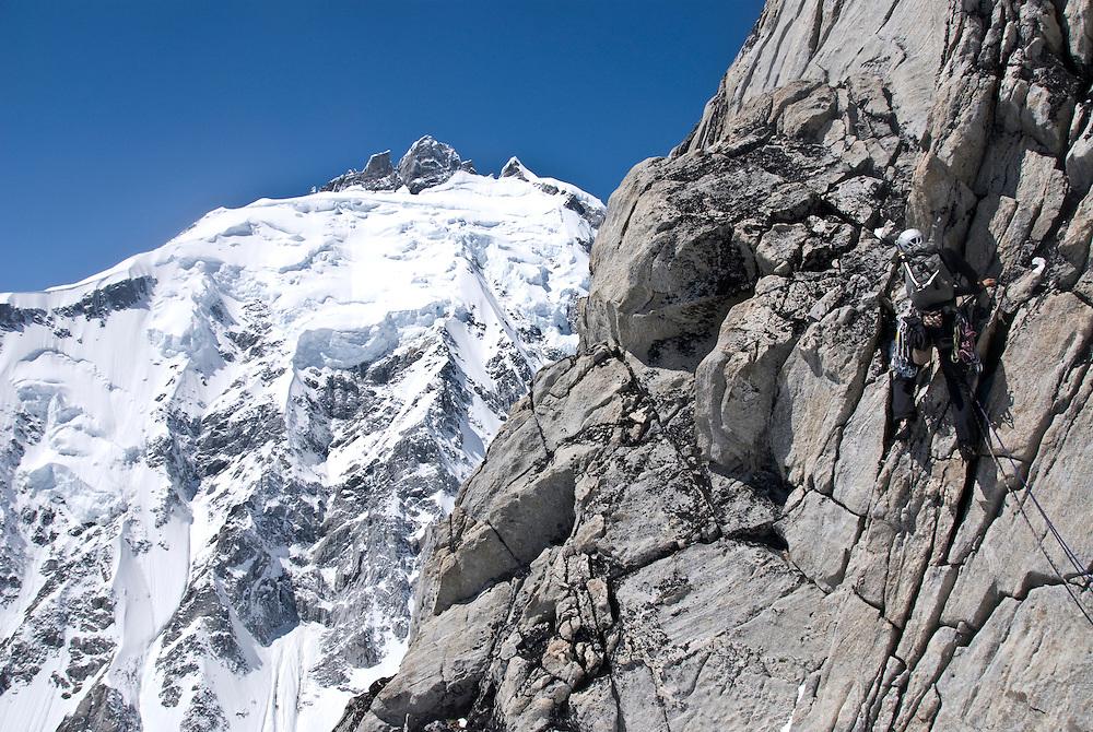 Julia Niles, Mt Tiedemann (ED2 1600m 5.11), Waddington Range, BC,