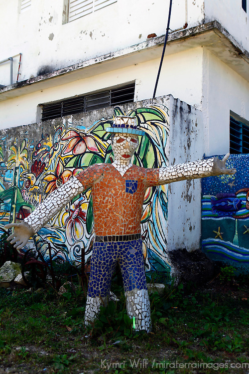 Central America, Cuba, Caibarien. Mosaic sculpture in Caibarien public art park near studio of Mayelin Perez Noa, created when a hurricane destroyed the house that stood here.