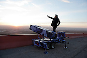 Artist Angel Cabrales takes border defense to the extreme with personal drones, home edition Patriot missile launchers and Flan tipped bombs in El Paso, Texas.<br /> <br /> El Paso, Texas, USA.<br /> <br /> &copy; Stefan Falke<br /> www.stefanfalke.com<br /> La Frontera: Artists along the US Mexican Border
