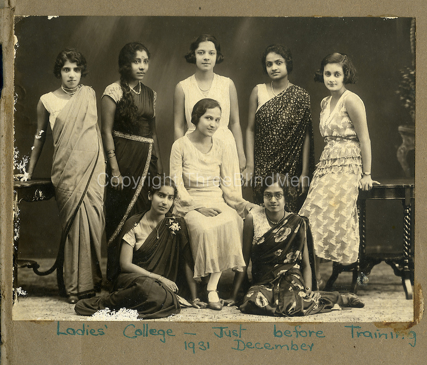 Left to Right standing: Miss Nellie Moses, Nita Proctor, Jinx de Kretser, not known, and Mavis Sansoni.<br /> Seated Centre: Doreen de Kretser.<br /> on Ground: Miss Ranji Breckenridge.<br /> Many thanks to Joan de Saram, Sonia de Saram and Maureen de Saram with their help in identifying the Ladies.<br /> Ranji Breckenridge, Jinx de Kretser and Mavis Sansoni taught at Ladies College.<br /> Ladies' College - Just before Training. 1931 December. from the Nita Proctor Collection