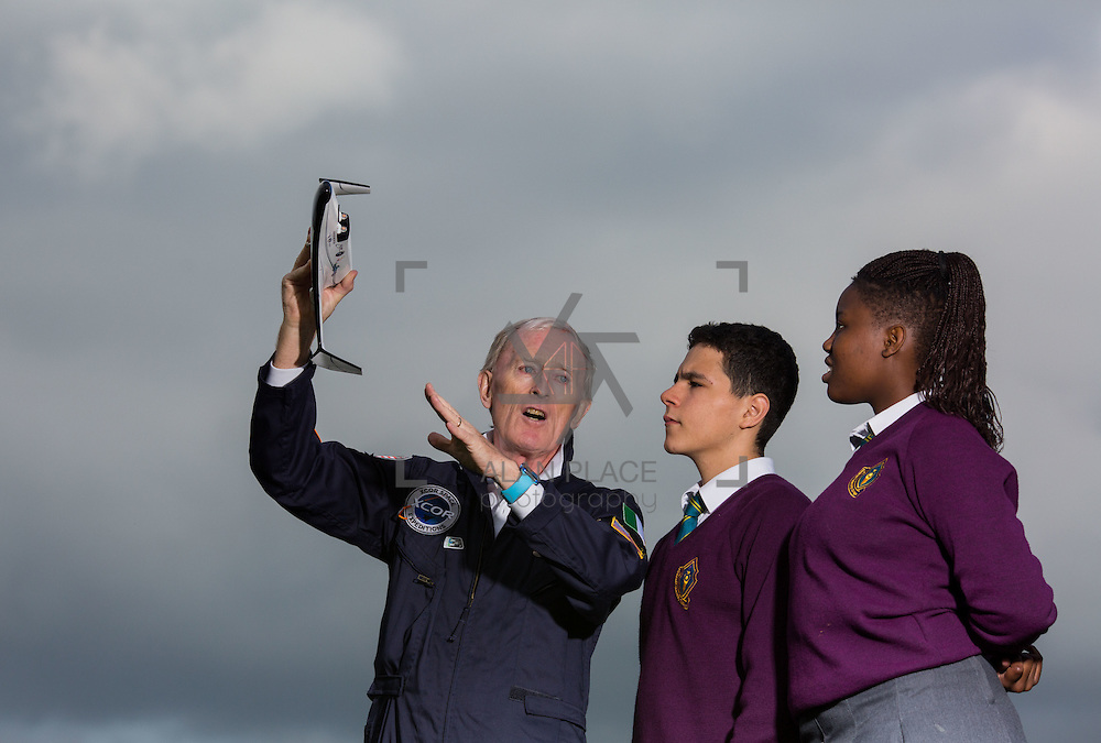 05.10.2016       <br /> European Space Education Resource Office (ESERO) Ireland and the CEIA &ndash; Cork&rsquo;s Technology Network &ndash; are calling on secondary school students to take their first step into the world of space exploration. Teams of senior cycle students from across Ireland are being asked to design, build and launch mini-satellites in the shape of a soft drink can as part of the ESERO Ireland and CEIA CanSat Competition. <br /> <br /> Pictured at the launch were, Limerick man Cyril Bennis, Space Tourist with Thomond Community College students, Tyreak Chaddad and Raissa Pululu at Limerick Institute of Technology.<br /> <br /> The competition, now in its seventh year, was officially launched today (Wednesday) in Limerick Institute of Technology by &lsquo;space tourist&rsquo; and Limerick man Cyril Bennis, as part of National Space Week. Picture: Alan Place