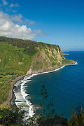 Waipio Valley and beach and the Hamakua coast from the Waipio Valley Lookout; Island of Hawaii.