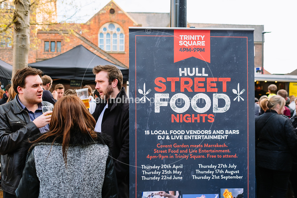 Trinity Square, Kingston Upon Hull, East Yorkshire, United Kingdom, 20 April, 2017. Pictured: Hull Street Food Nights at Trinity Square