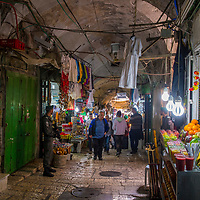 JERUSALEM - APRIL 13 : The market in old city of Jerusalem , Israel on April 13 2017.  The market is very popular site for tourists and pilgrims visiting Jerusalem