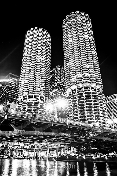 Marina City Towers At Night Black And White Picture With State Street
