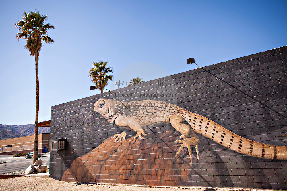 Desert lizard painted mural on a building in Twentynine Palms, California.