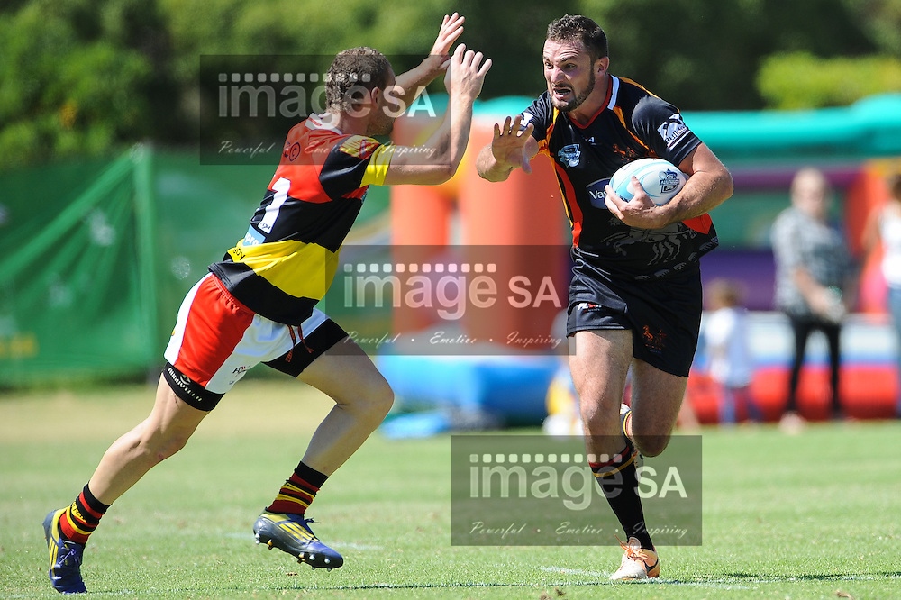CAPE TOWN, SOUTH AFRICA - Saturday 28 February 2015, Clayton Kelly of Vaseline Wanderers runs into Iewan Bartels of Hamiltons RFC during the second round match of the Cell C Community Cup between Hamiltons and Vaseline Wanderers at the Stephan Oval, Green Point.<br /> Photo by Roger Sedres/ImageSA/SARU