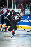 KELOWNA, CANADA - NOVEMBER 9: Haydn Fleury #4 of Team WHL warms up against the Team Russia on November 9, 2015 during game 1 of the Canada Russia Super Series at Prospera Place in Kelowna, British Columbia, Canada.  (Photo by Marissa Baecker/Western Hockey League)  *** Local Caption *** Haydn Fleury;