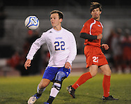 Oxford High's Hunter Stewart (22) vs. Lafayette High in boys high school soccer action at Bobby Holcomb Field in Oxford, Miss. on Monday, December 10, 2012. Oxford won 8-0.