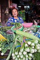Woman selling fresh vegetables, Bangkok, Thailand