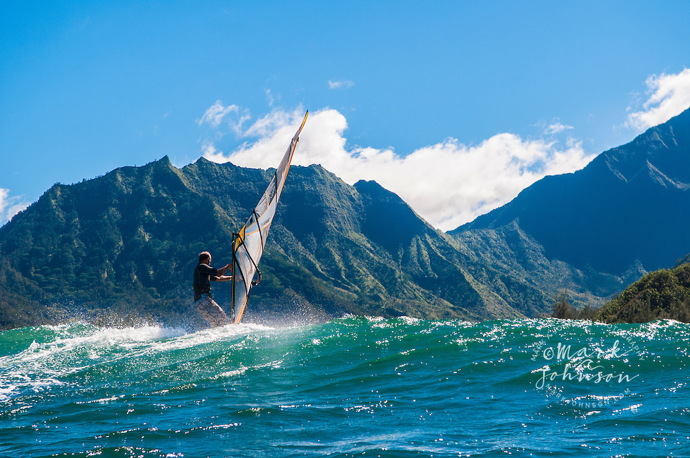 Windsurfing in Hanalei Bay, Kauai, Hawaii