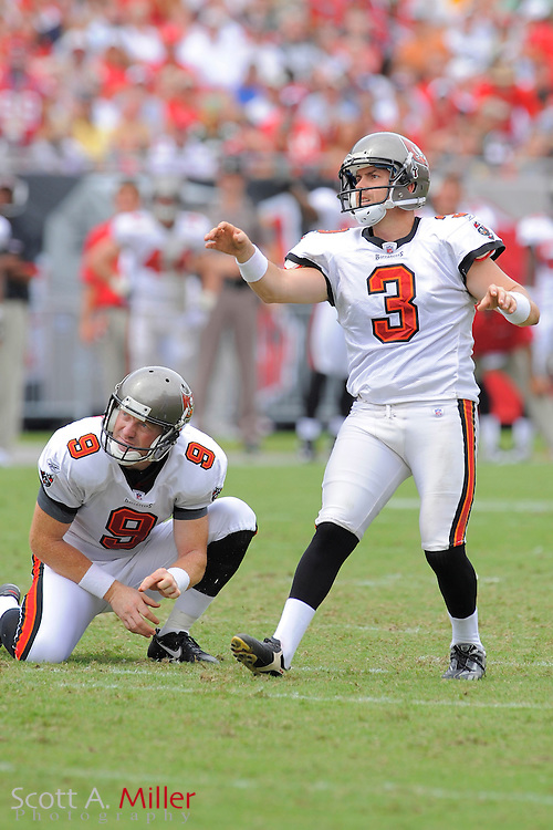 Tampa, Florida, Sept. 28, 2008: Tampa Bay Buccaneers kicker Matt Bryant (3) in action against the Green Bay Packers at Raymond James Stadium. Bryant's 3-month-old son, Matthew Tryson, died earlier in the week....©2008 Scott A. Miller