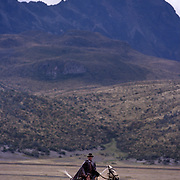Man riding horse in Ecuador.
