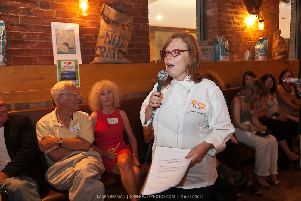 Chef Donna Dooher at the Mega-quarry information session at Marben, June 28, 2011