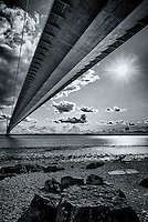 The Humber Bridge under the north tower, Hessle foreshaw