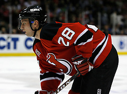 Apr 3, 2007; East Rutherford, NJ, USA; New Jersey Devils defenseman Brian Rafalski (28)during the first period at Continental Airlines Arena in East Rutherford, NJ.