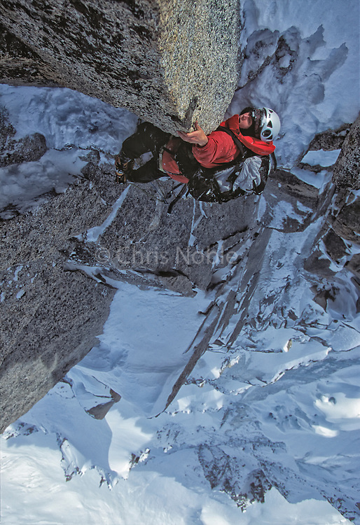 American mountaineer Nancy Feagin climbing the Frendo Spur in Chamonix France.