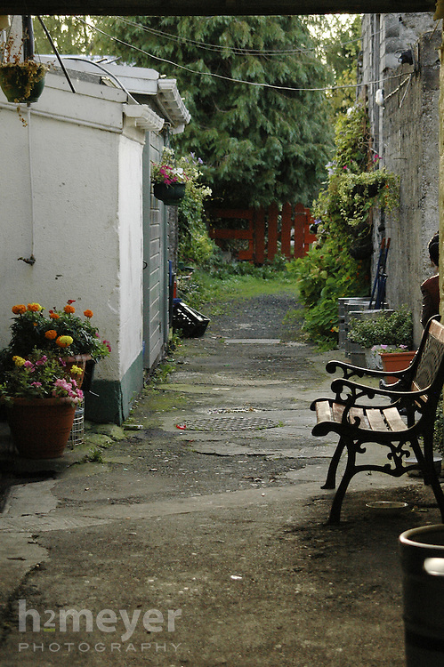 A peak down a side alley in rural Ireland reveals a rich visual landscape for the passing traveller.