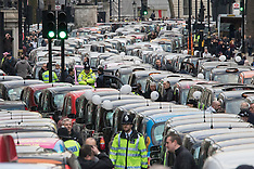 2016-02-10 Thousands of London cabbies block Whitehall in protest