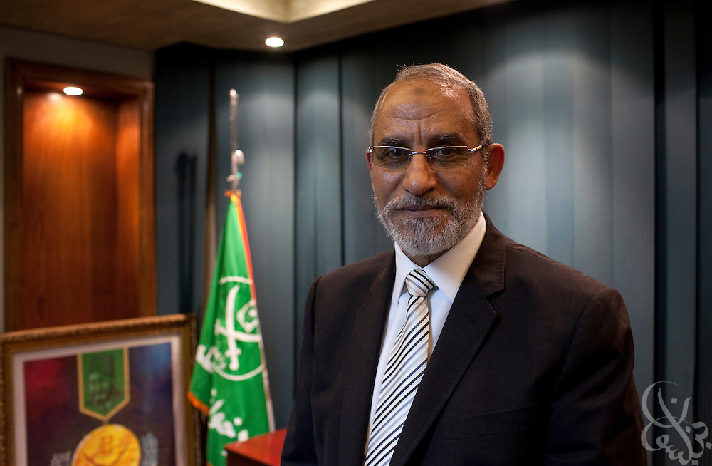 Dr. Mohammed Badie, leader of the Muslim Brotherhood, Egypt's largest political opposition group poses for a portrait November 23, 2010 at his office in Cairo, Egypt. (Photo by Scott Nelson for Newsweek)