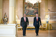 New appointed United Nations general secretary Antonio Guterres and Portuguese Minister of Foreign Affairs Augusto Santos Silva ( R ) walk together to the beginning of the press in Lisbon, on October 6, 2016. Rodrigo Cabrita/4SEE