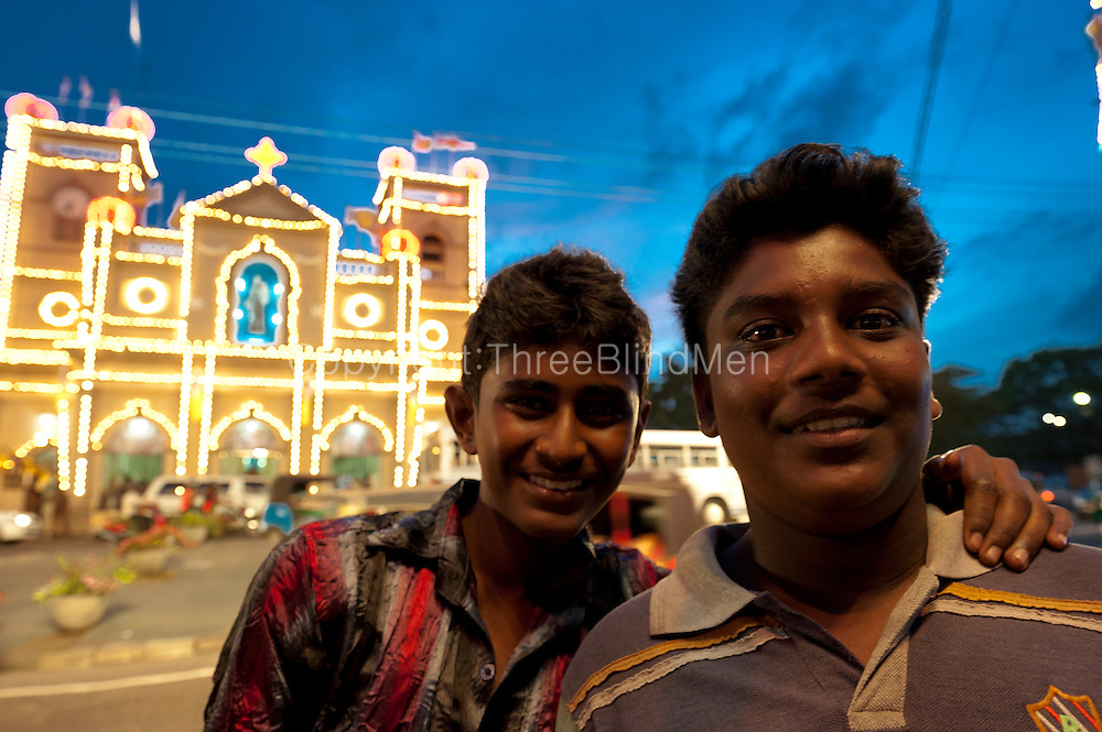 Boys on the street celebrating the annual feast and festival of St. Anthony's shrine in Colombo 13.