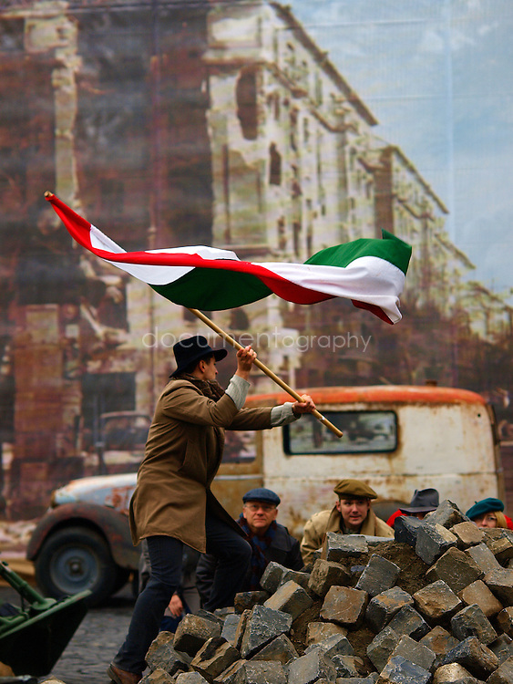 An historical reenactment of a classic scene of the 1956 revolution, Budapest, Hungary.