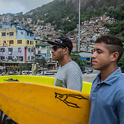 """José Ricardo """"Bocão"""", 44, surfer, social activist. He founded Rocinha Surfe Escola in late 80s, when some kids used to see him with a surfboard and ask him to teach them. The surf school survives with financial and equipment donations as well as volunteers' help. Hundreds of children learned how to surf and, through this sport along with Portuguese, English, skateboard and theatre classes – so they can keep their minds pretty busy, not giving a chance to get stuck in a life of crime."""