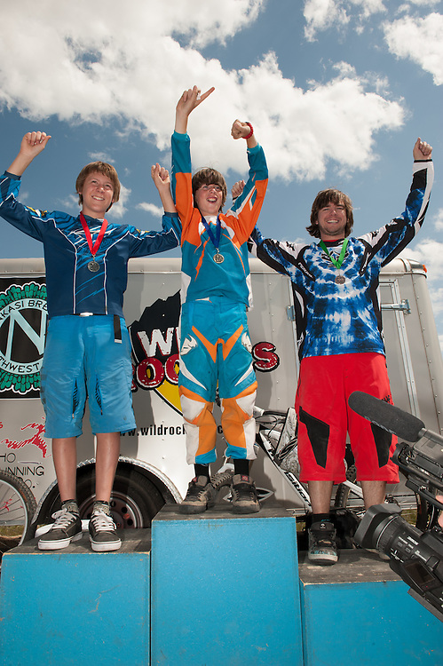 Downhill race podium from the Wild Rockies event held at the Eagle Bike Park on 5/28/12.