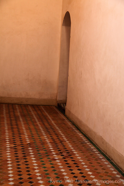 Africa, Morocco, Marrakech. Room at El Bahia Palace, with tiled floor.