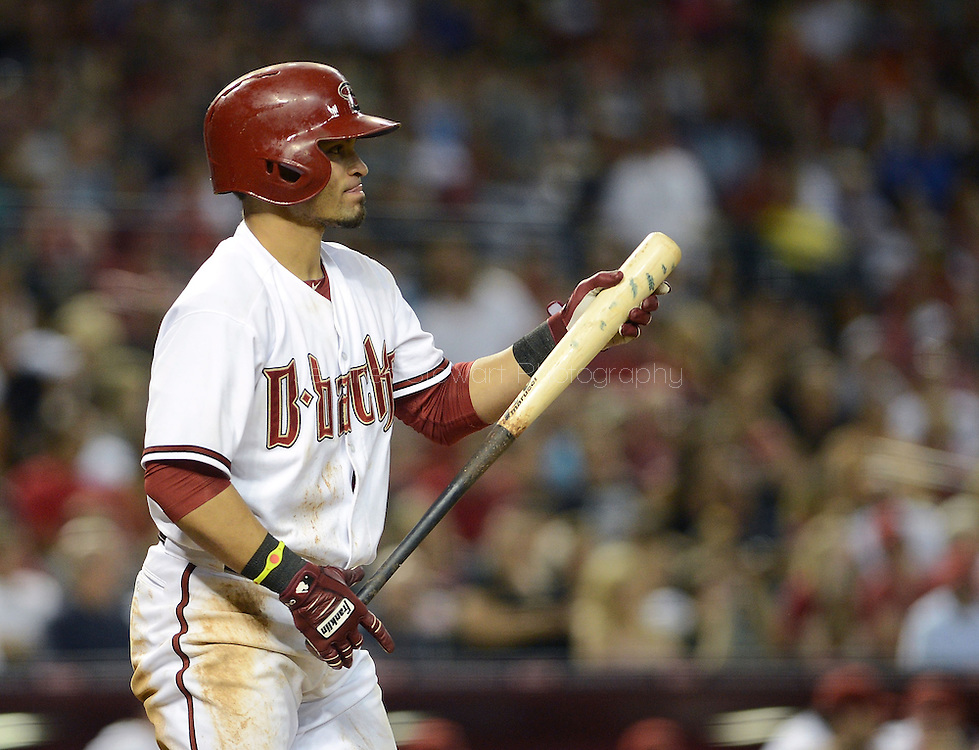 PHOENIX, AZ - JUNE 07:  Gerardo Parra #8 of the Arizona Diamondbacks reacts while at bat against the San Francisco Giants in the fifth inning at Chase Field on June 7, 2013 in Phoenix, Arizona.  The Diamondbacks defeated the Giants 3-1.  (Photo by Jennifer Stewart/Getty Images) *** Local Caption *** Gerardo Parra