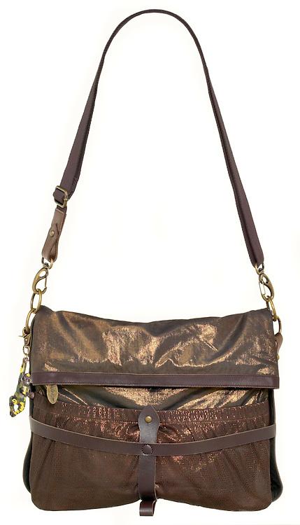 shiny gold and brown kipling satchel