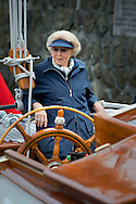 20-6-2015 LEMMER - Princess Beatrix sails on her Yacht the Green Draeck . Princess Beatrix takes a naval review off from Green Draeck  &bdquo;Groene Draeck &bdquo; during the jubilee reunion of the Foundation Breed Round &amp; Flatbottomyachts (SSRP), which was founded in 1955. COPYRIGHT ROBIN UTRECHT<br /> 20-6-2015 LEMMER - Prinses Beatrix aan het roer van de Groene Dreack .Prinses Beatrix neemt een vlootschouw af vanaf De Groene Draeck tijdens de jubileumreunie van de Stichting Stamboek Ronde &amp; Platbodemjachten (SSRP), die werd opgericht in 1955. COPYRIGHT ROBIN UTRECHT