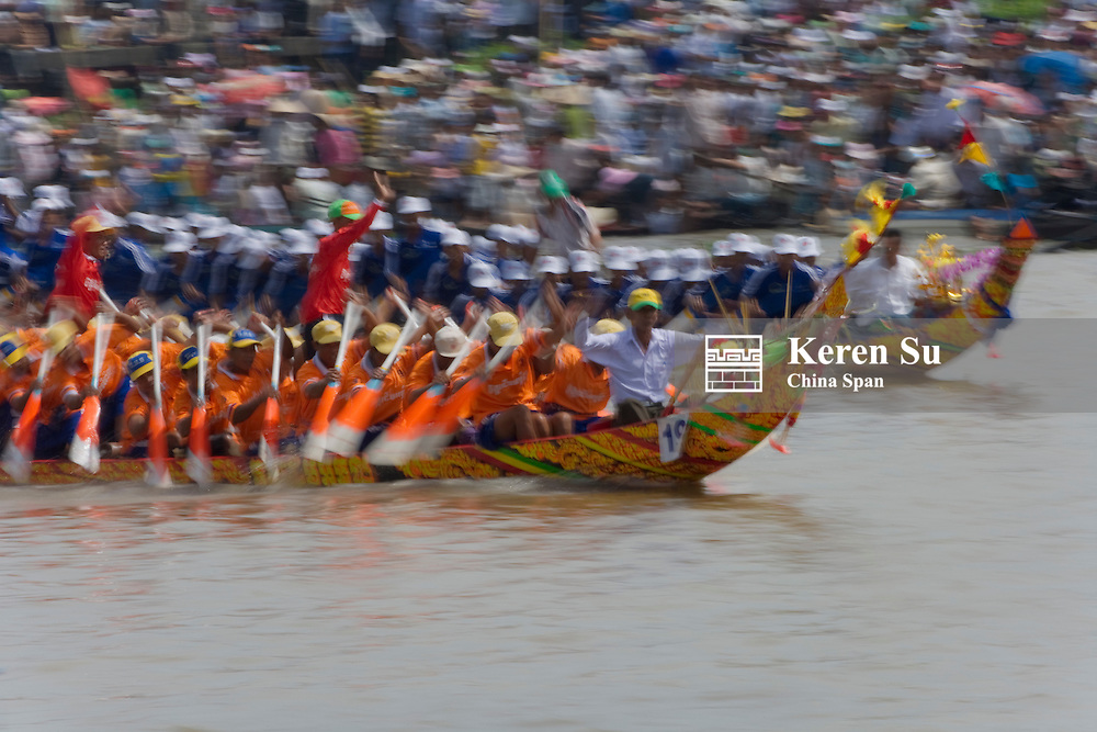 Ngo Boat Race celebrating Khmer people's new year festival, Ghe Ngo Festival, on Mekong River.