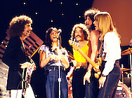 """Journey 1979 on """"Midnight Special"""". l-r Neal Schon, Steve Perry, Steve Smith, Gregg Rolie, Ross Valory.© Chris Walter."""