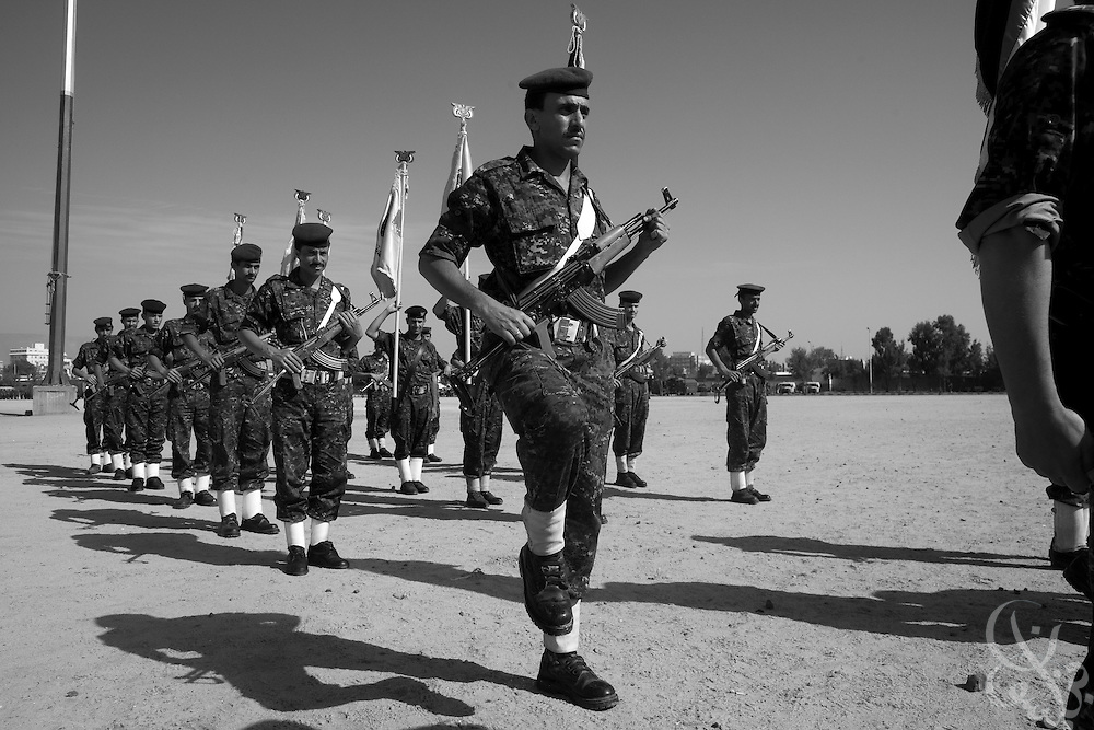 A Yemen Central Security Forces (CSF) color guard participates in a troop review April 14, 2010 on the parade grounds at the CSF headquarters in the Yemeni capital, Sana'a. Yemen faces a number of security problems including the Houthi rebellion in the north, separatists in the south and Al Qaeda in the Arabian Peninsula, but is taking steps to rapidly train and deploy a variety of security forces with the help of the USA, the UK, and other governments.
